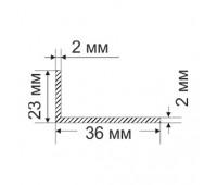 Corner 23х36х2 mm, 0.309 kg / p.m.