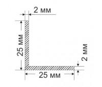 Corner 25х25х2 mm, 0.26 kg / p.m.